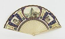 A fan, circa 1800, painted with panels of ancient