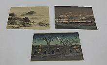 Three small Japanese wood block prints