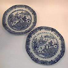 A pair of Chinese blue and white octagonal plates