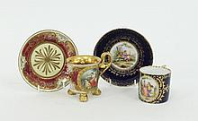Two Vienna style cups and saucers, circa 1900, the