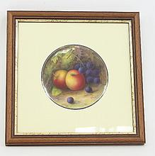 A Royal Worcester fruit-painted plaque, decorated