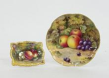 A Royal Worcester fruit-painted pin dish with a