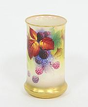 A Royal Worcester cylindrical vase, painted with