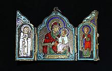 A Russian silver gilt and enamel triptych travel