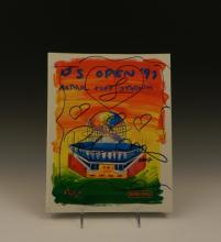 Peter Max Hand Signed Magazine & Drawing