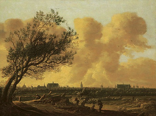 A panaromic view of Leiden with figures under a tree in the foreground