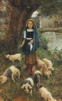 CESARE SACCAGGI (ITALIAN, B. 1868) WOMAN HERDING PIGS