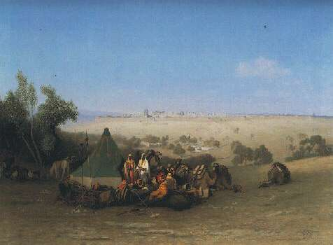 CHARLES-THEODORE FRERE (FRENCH, 1814-1888) AN ARAB ENCAMPMENT ON THE MOUNT OF OLIVES WITH JERUSALEM BEYOND