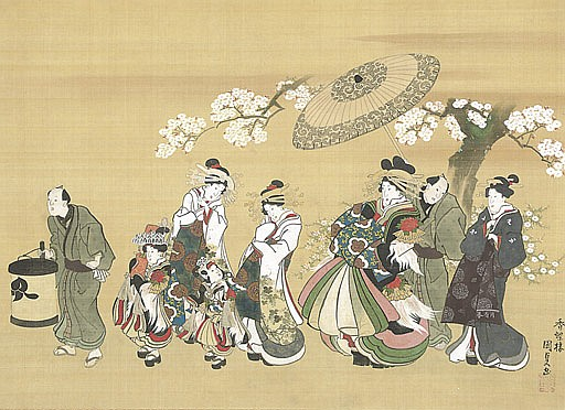 Courtesan on parade in the Yoshiwara with her attendants beneath cherry blossoms