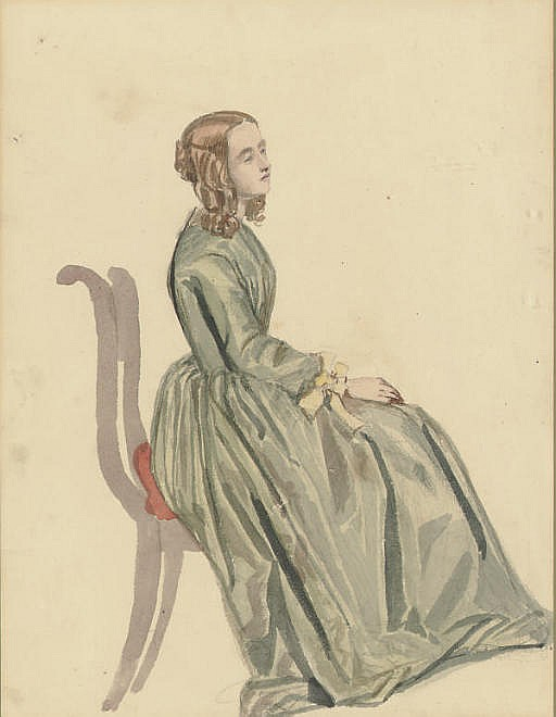 A young woman seated