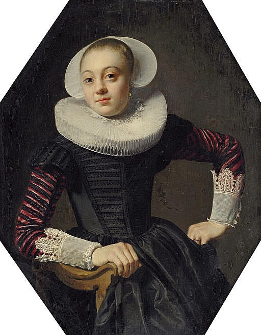 Portrait of a lady, seated three-quarter-length, in a black dress with red slashed sleeves, lace cuffs and a ruff