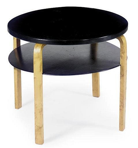 AN EBONIZED AND BIRCH 'MODEL 70' TABLE,