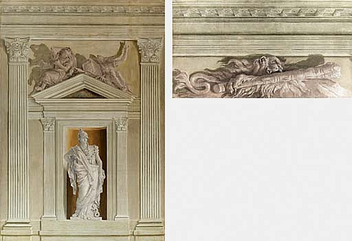 La Clava di Ercole e Leontea Minerva entro nicchia sovrastata da timpano con due geni alati che reggono lo stemma Valmarana