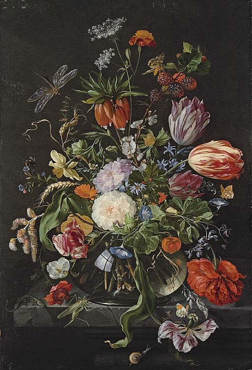 Tulips, roses, carnations, morning glory, an african marigold, a hyacinth, narcissus, a crown imperial and other flowers with a branch of willow catkins, wheatsheafs, cow parsley, holly and a sprig of blackberries in a glass vase on a stone
