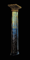 AN IMPORTANT FAVRILE GLASS MOSAIC AND PAINTED GESSO COLUMN