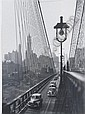 New York Harbor, Looking Toward Manhattan from the Footpath on Brooklyn Bridge, October, 1946, Esther Bubley, Click for value