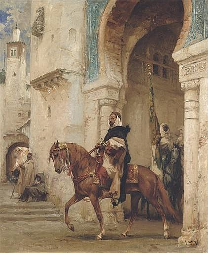 Horseman leaving a palace