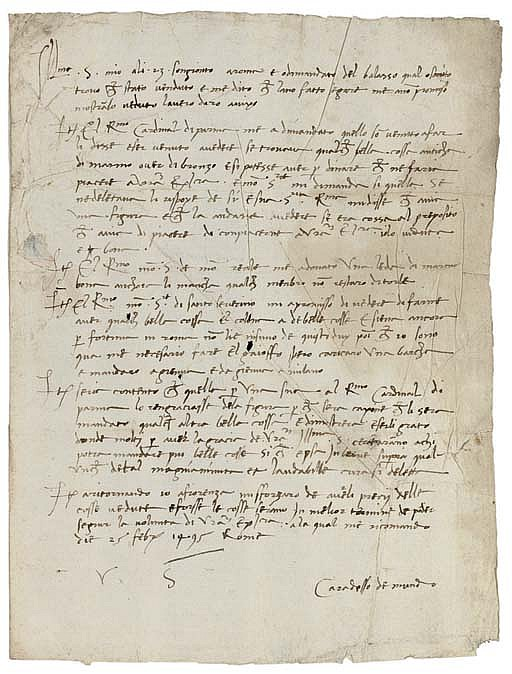 FOPPA, Cristoforo, known as Il CARADOSSO (c.1452-1526/27). Autograph letter signed to Ludovico Maria Sforza, il Moro, duke of Milan, Rome, 15 February 1495, listing the antique sculptures he has been offered as possible purchases or gifts for