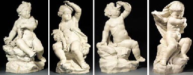 Four Continental polished white porcelain figures of putti emblematic of the Seasons