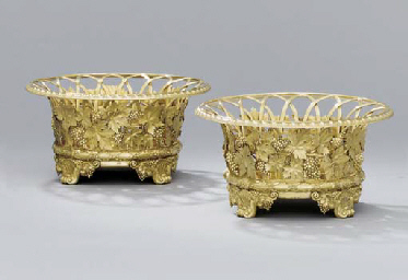 A pair of George III silver-gilt dessert-baskets