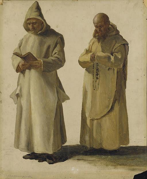 Deux moines, l'un lisant, l'autre priant avec son chapelet