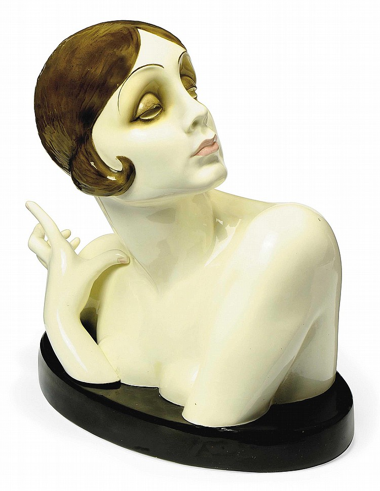 'BUSTO' A LARGE LENCI EARTHENWARE BUST WITH REMOVABLE HAND BY SANDRO VACCHETTI