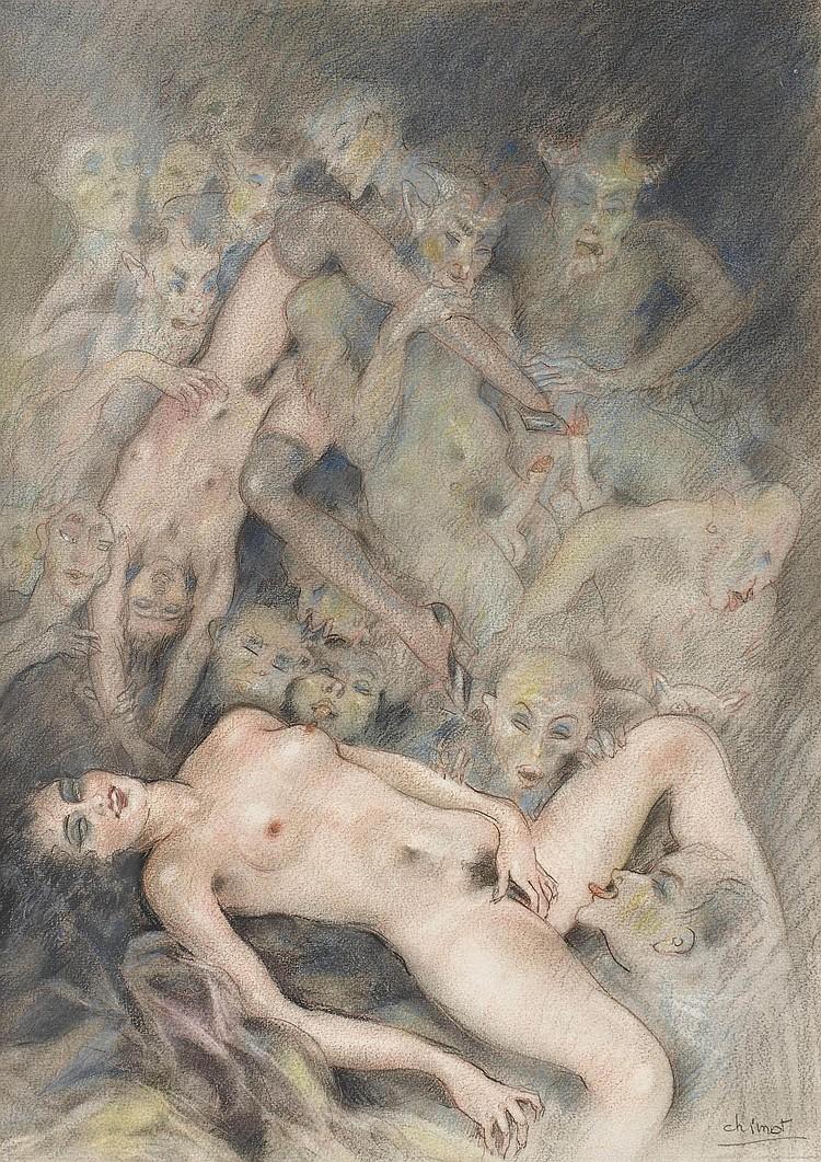 CHIMOT, Édouard (1880-1959) & Pierre LOUYS (1870-1925). Recueil composé de 12 dessins originaux d'Édouard Chimot, pour la plupart érotiques (mine de plomb, crayon, gomme arabique) sur papier vélin (ca. 320 x 240 mm), et 10 pièces