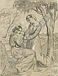Two women, one sitting and holding a child, the other standing under a tree, Theodore Chasseriau, Click for value