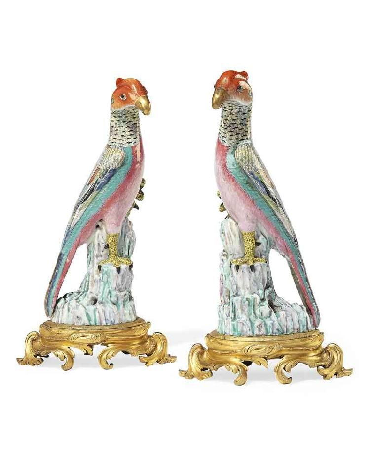 A PAIR OF LOUIS XV ORMOLU-MOUNTED CHINESE FAMILLE ROSE PORCELAIN MODELS OF PHEASANTS