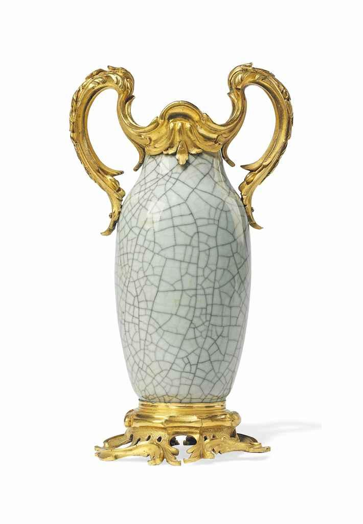 A LOUIS XV ORMOLU-MOUNTED CHINESE CRACKLED-GLAZED CELADON PORCELAIN VASE