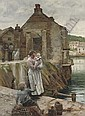 On the Quay, Newlyn , Walter Langley, Click for value