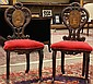 Pair of Continental inlaid hall chairs