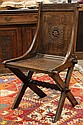 Pair of English quartersawn oak hall chairs