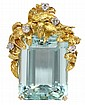 Lady's yellow gold, diamond and aquamarine pendant/brooch