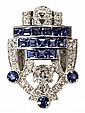Cartier Art Deco era platinum, blue sapphire and diamond clip brooch, circa 1930