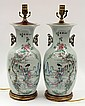 Two Chinese Enameled Vases/Lamps