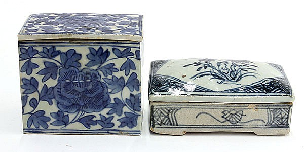 Two Chinese Blue-and-White Porcelain Boxes