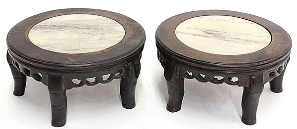 Two Chinese Small Marble Wood Stands