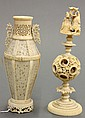 Two Chinese ivory  Puzzle Ball and  Bone Carved Vase