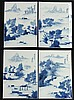 Four Chinese Blue and White Porcelain Plaques