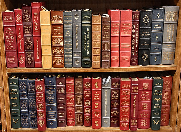 Leather bound books mostly relating to American Presidents