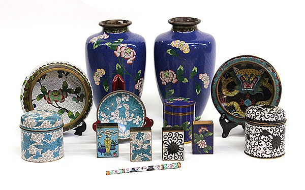 Group of Chinese Cloisonne Enameled Items