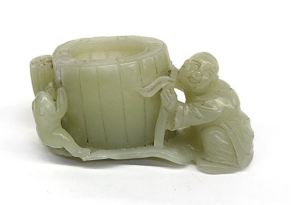 Chinese Figural Jade, Child and Lotus