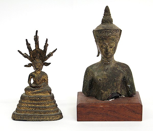 Thai Bronze Buddha and Bust