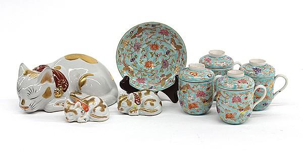 Japanese Fukagawa  Porcelain& Kutani Cats