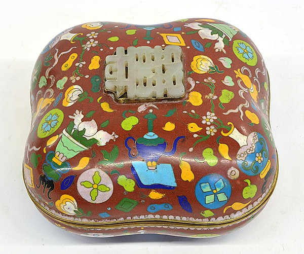 Chinese Lidded Cloisonne Box with Jade