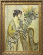Painting, Lady in Yellow with Vase of Flowers, circa 1922