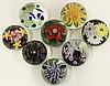 Lundberg Studios art glass flower paperweights