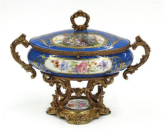 French porcelain gilt mounted box