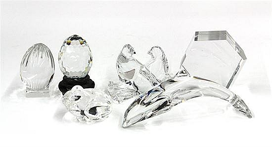 (lot of 6) Crystal paperweight group